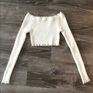 Tops - White long Sleeve Off Shoulder Sweater Crop Top